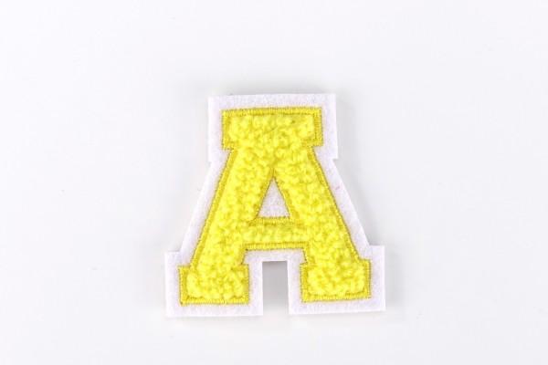 Kleine Frottee-Buchstaben 4,2 cm hoch | Gelb, Weiß | Varsity Letter