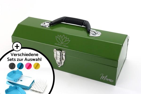 einfach nähen Toolbox-Set | Oliv mit Logo + Name | Metall