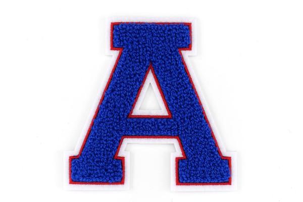 Frottee Buchstabe A-Z | Blau, Rot, Weiß | 9,5 cm hoch | Varsity Letter