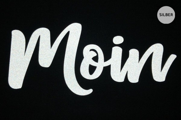 """Moin"" Schriftzug   Reflektor-Bügelbild   5 cm  "