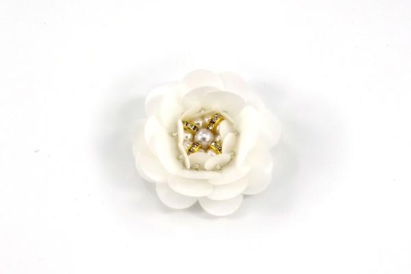 Weiße Blume Aufnäher | Patch | Pailletten