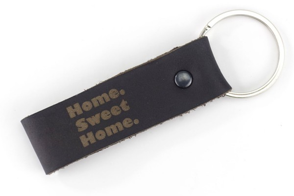 """Home. Sweet Home."" Schlüsselanhänger aus Echt-Leder | mit hochwertigem Schlüsselring"