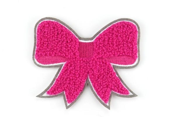 Aufnäher Schleife | Pink, Weiß, Grau | 8,5 x 7 cm | Patch