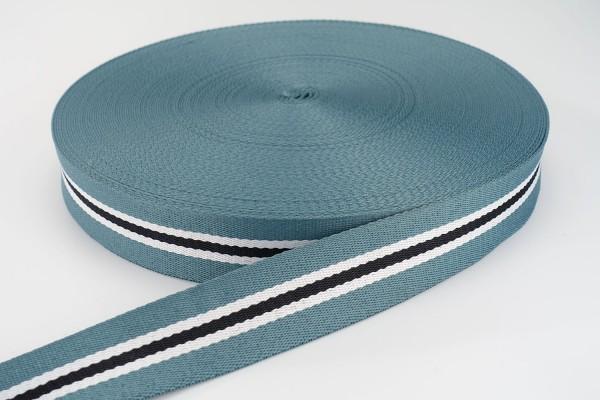 Gurtband Streifen Bleu Weiß Schwarz | 3,8 cm breit | Meterware