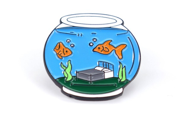 Pin Aquarium | Fischglas | Türkis Grün Orange