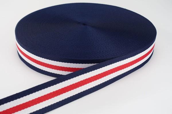 Gurtband Streifen Marine, Rot, Weiß | 3,8 cm breit | Meterware