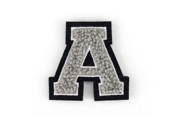 Kleine Frottee-Buchstaben 4,2 cm hoch | Grau, Weiß, Schwarz | Varsity Letter